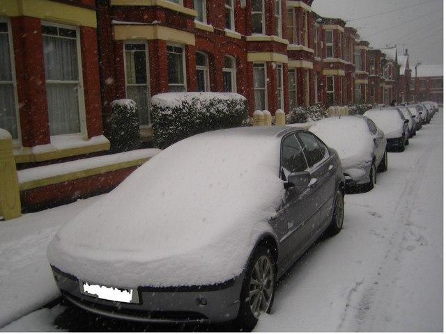 Snow in Eardisley Rd, L18
