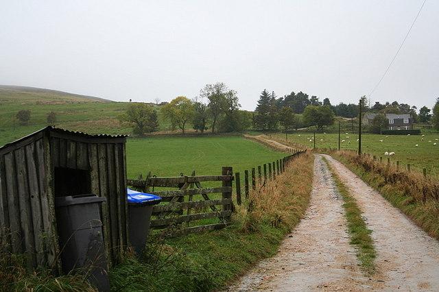 The lane to Parkhall Farm.