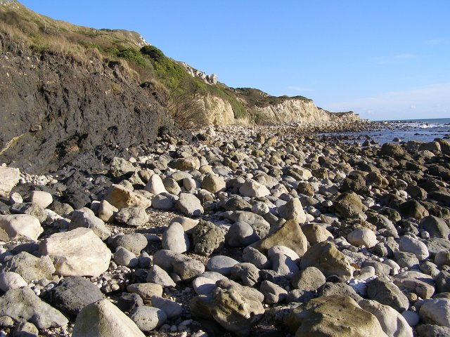 Rocky beach exposed at low tide, Ringstead Bay