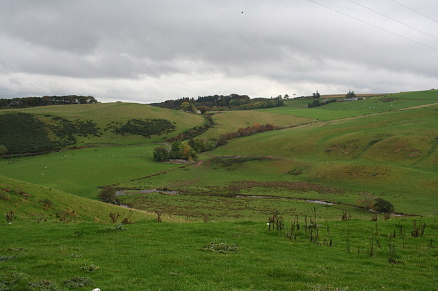 Eastwards across the Bogie to Barflat and Bankhead crofts.
