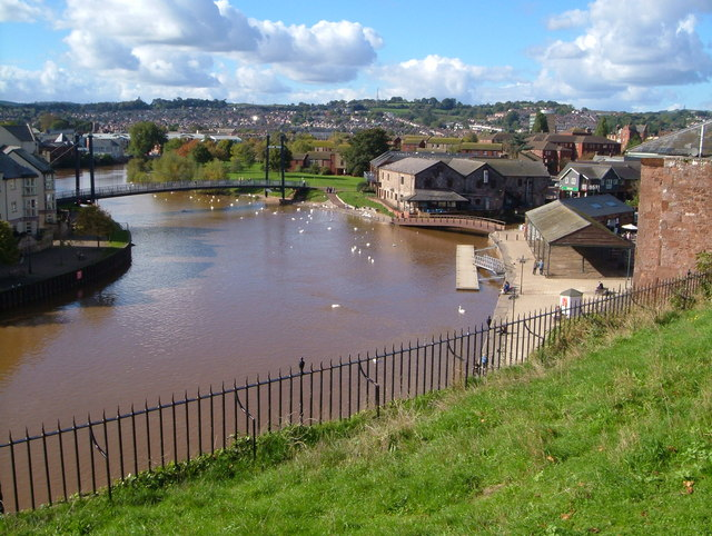 Exeter Quay and River Exe from Colleton Crescent