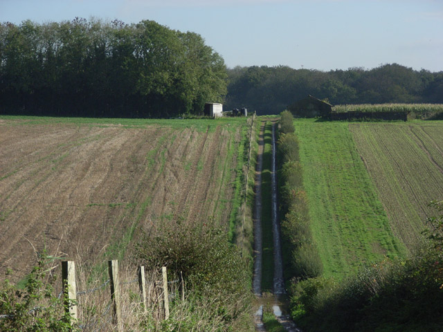 Farmland and woodland above Minal
