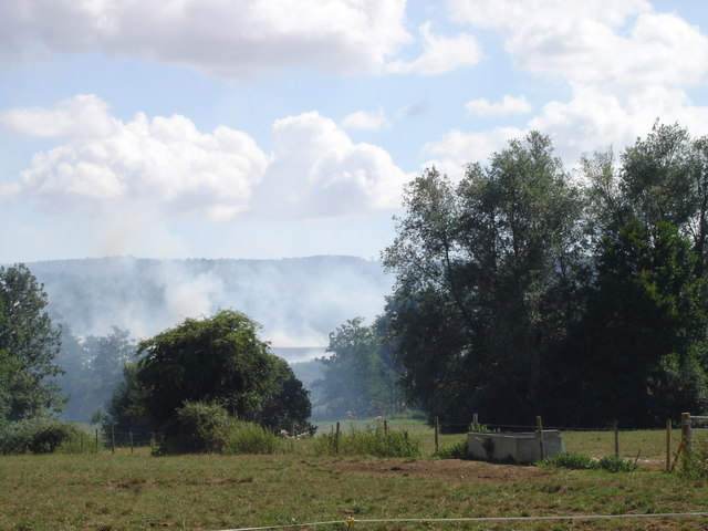 Crops on fire south of Moor Farm