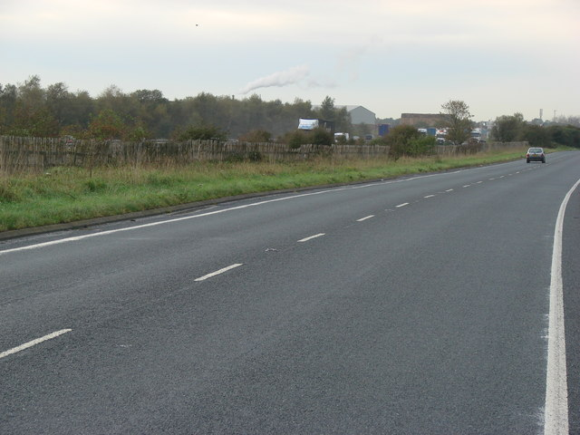 The A645 and the M62 roads, running  parallel separated by only a few metres.
