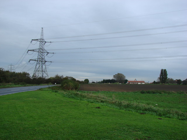 Pylons, with overhead cables crossing the A645 to the east of the junction with Long Lane.