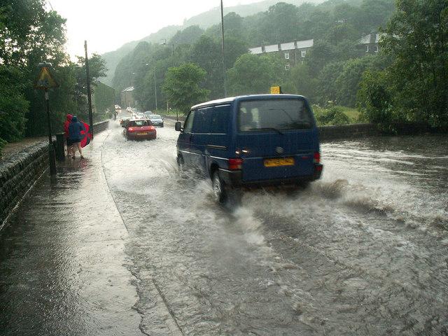 Flooding on King Street, Mytholm