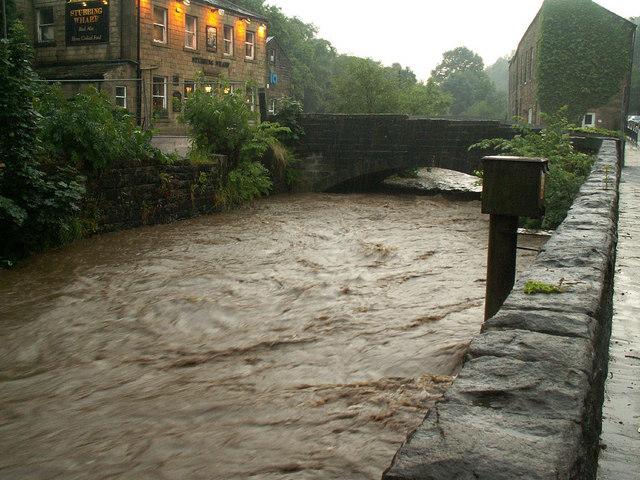 River Calder near the Stubbing Wharf pub, Mytholm