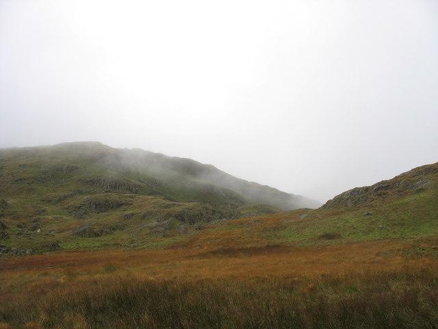 Mist gathering over the northern slopes of Moel Ddu
