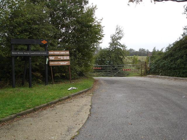 Entry to Warren Hamer Quarry Landfill Site