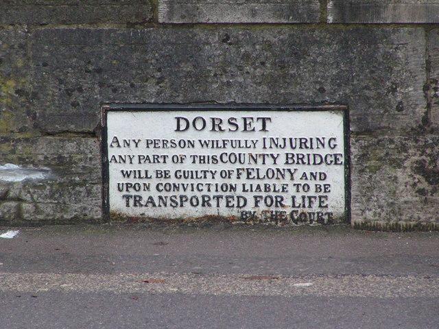 Historical sign on the North Bridge, Wareham