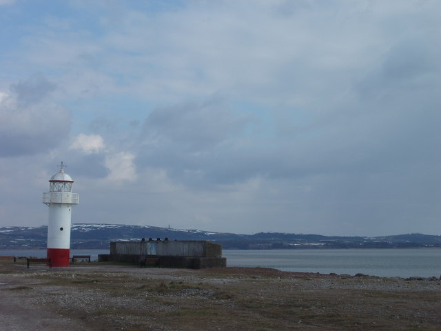 Lighthouse at edge of Hodbarrow lagoon