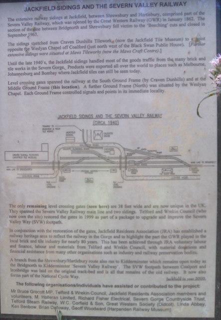 Plaque on Jackfield Sidings