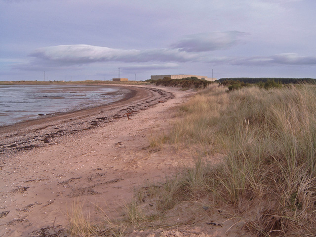 Beach at the eastern end of the Fort George MOD land