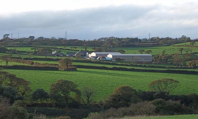 Boswellick Farm from near St Allen