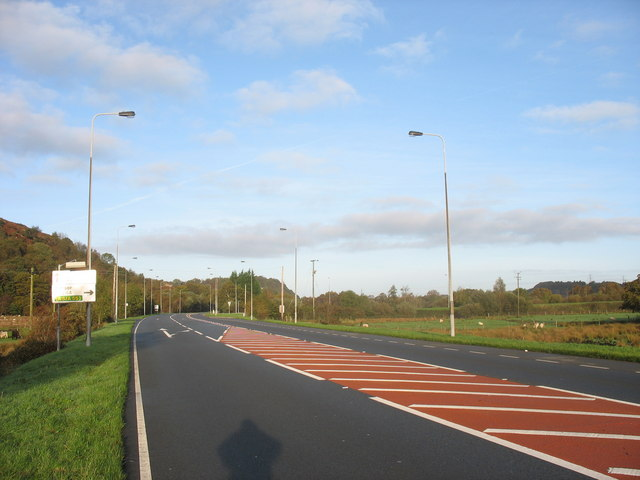 A fast section of the A4096 approaching the A4547 Bangor road