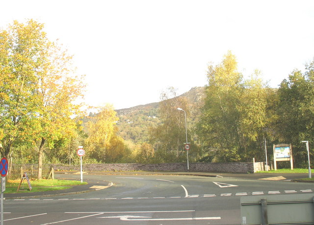 The junction between the service road to the Glyn Industrial Estate and the Llanberis By-pass