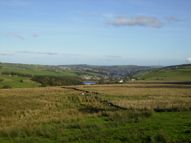 View over moorland to Ramsden Reservoir and Holmfirth