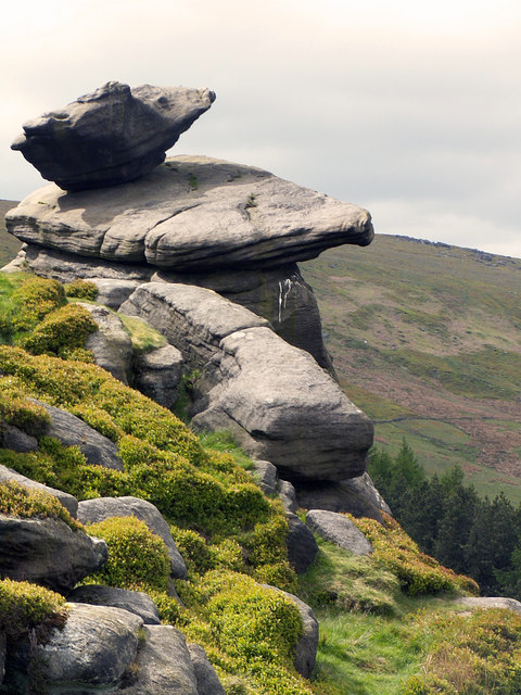 Rocking Stone at Cludders Slack, above Widdop Reservoir