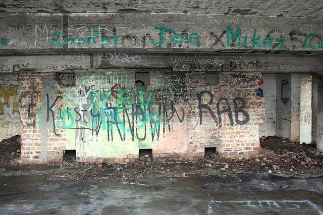 Graffiti rich bunker on the Moray coast.