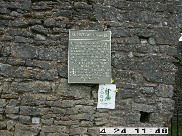 Plaque on Runston Chapel