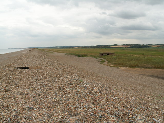 Shingle bank, pillbox and marshes, Cley Eye