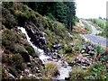 NM4750 : Trackside waterfalls near Loch Frisa by Rob Farrow