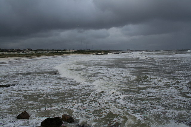 An angry sea crashes on Hopeman's West Beach in early winter.