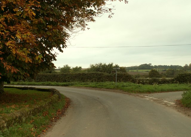 Road junction next to Hundon Grange Farm