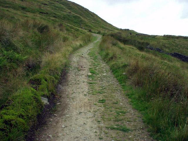 Gorple Gate climbing the hillside above Widdop Reservoir
