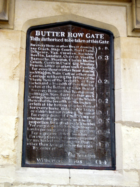 Butter Row Gate tolls