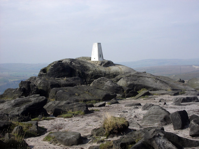 Trig point on summit of Blackstone Edge