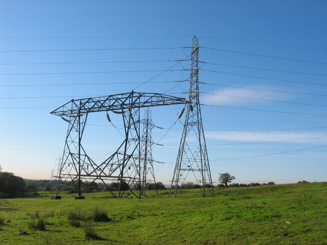 Pylons near Llan Farm