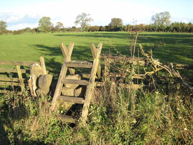 Stile on the path to Low Hall