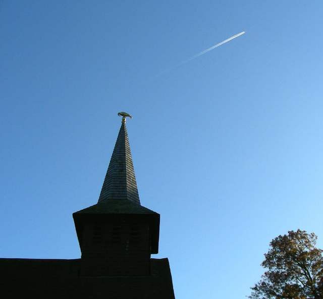 Steeple and plane