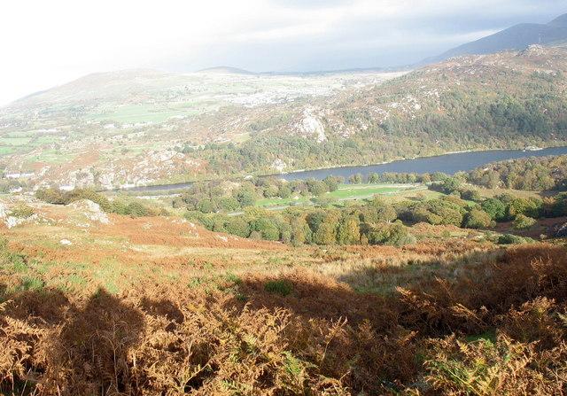 View towards the flat lands of Llwyncoed Farm