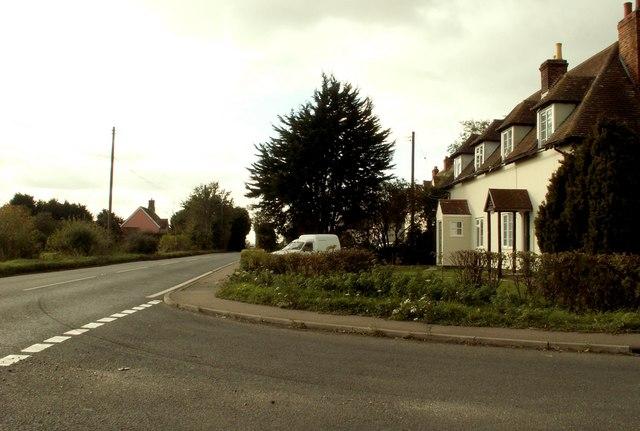 Road junction near Long Melford
