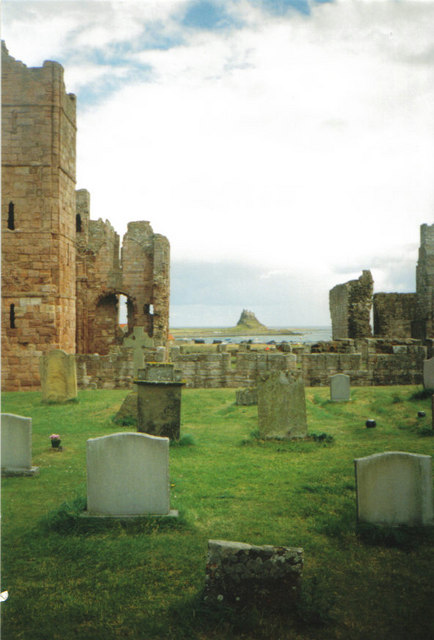 Lindisfarne Priory with Castle in the background.