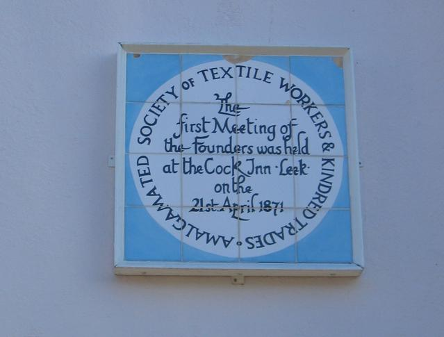 Plaque on the wall on the Cock Inn