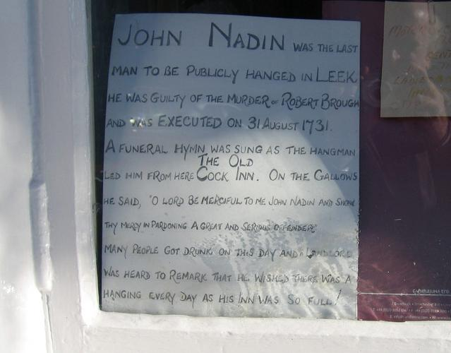 Sign in the window of the Cock Inn, Leek
