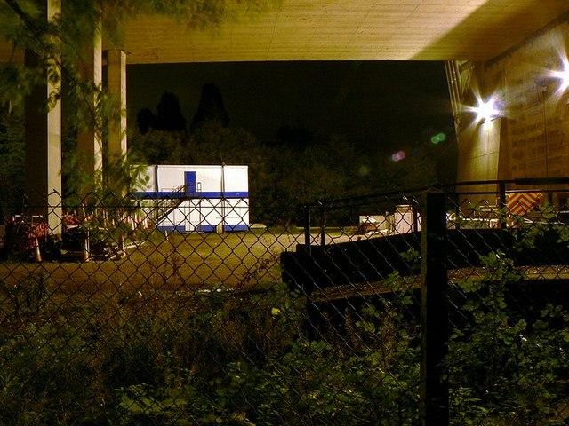 Storage yard under the Humber Bridge at night.