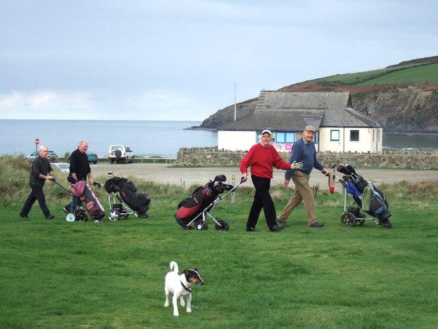 Trefdraeth/Newport  golf club with  cheerful golfers
