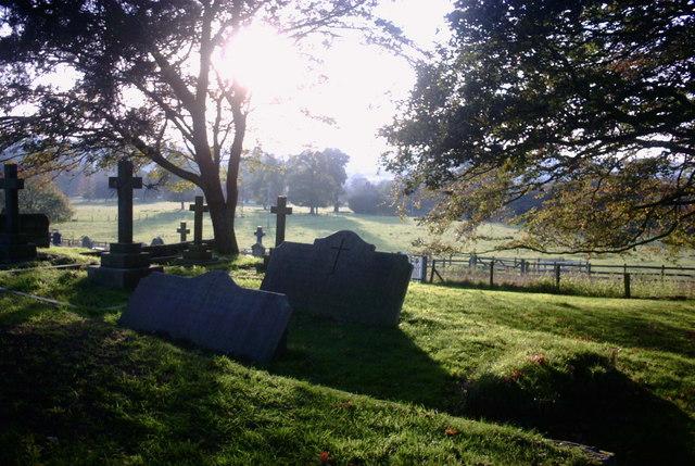 Gravestones overlooking Fields
