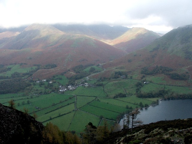 Buttermere Village and Lake.