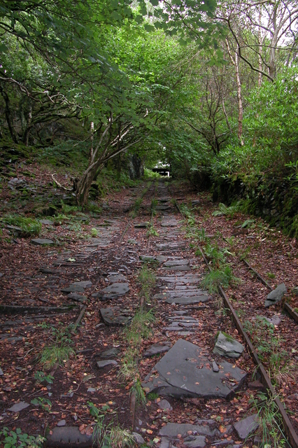 Looking up the bed of the lowest pitch of the Dinorwig A incline plane railway
