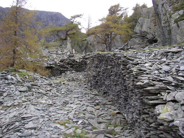 Slate debris on Castle Crag, Borrowdale
