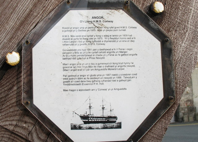 Plaque on the HMS Conway Anchor