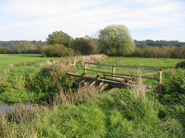 Sluice gates on the Avon flood plain
