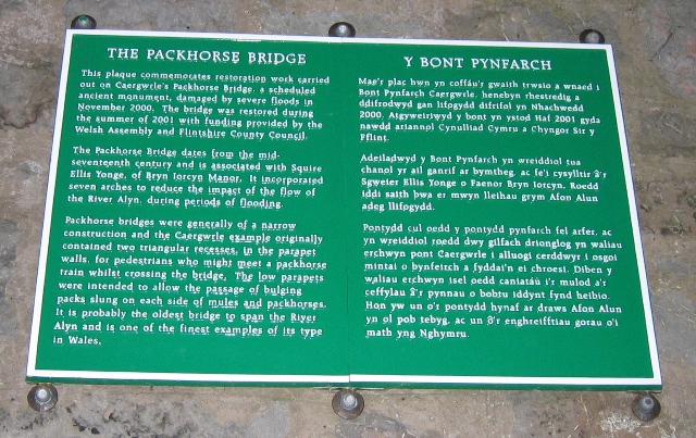 Caergwrle Packhorse Bridge Information Plaque