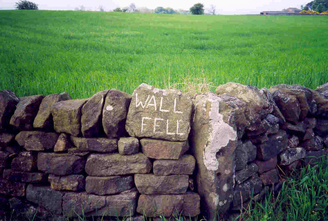 Wall Fell Farm - name of farm etched on rock wall
