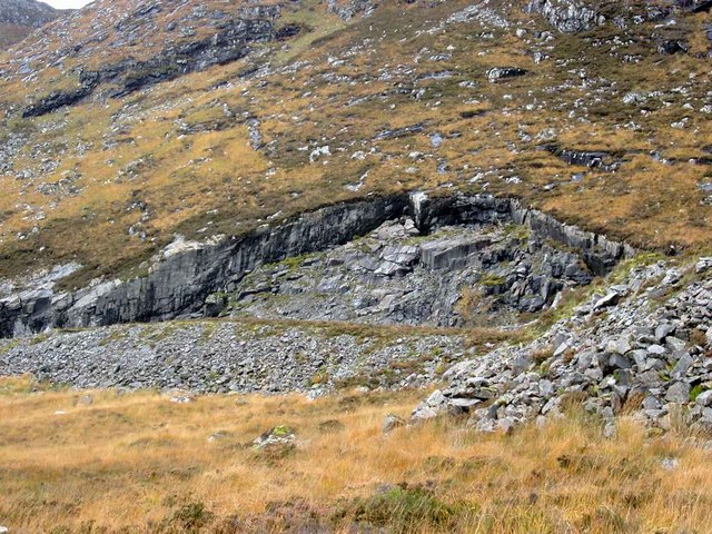 Disused quarry by the Fannich track